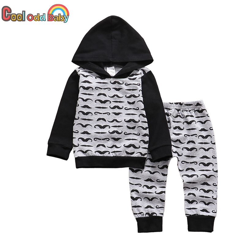 Комплект одежды из 2 предметов для маленьких мальчиков, Модные осенние Топы с капюшоном и длинными рукавами, повседневные штаны Одежда для н...