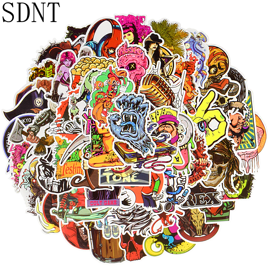100 PCS Horror Cool Sticker Skeleton Punk JDM Graffiti Waterproof Stickers For Adult DIY Laptop Helmet Bike Skateboard Stickers