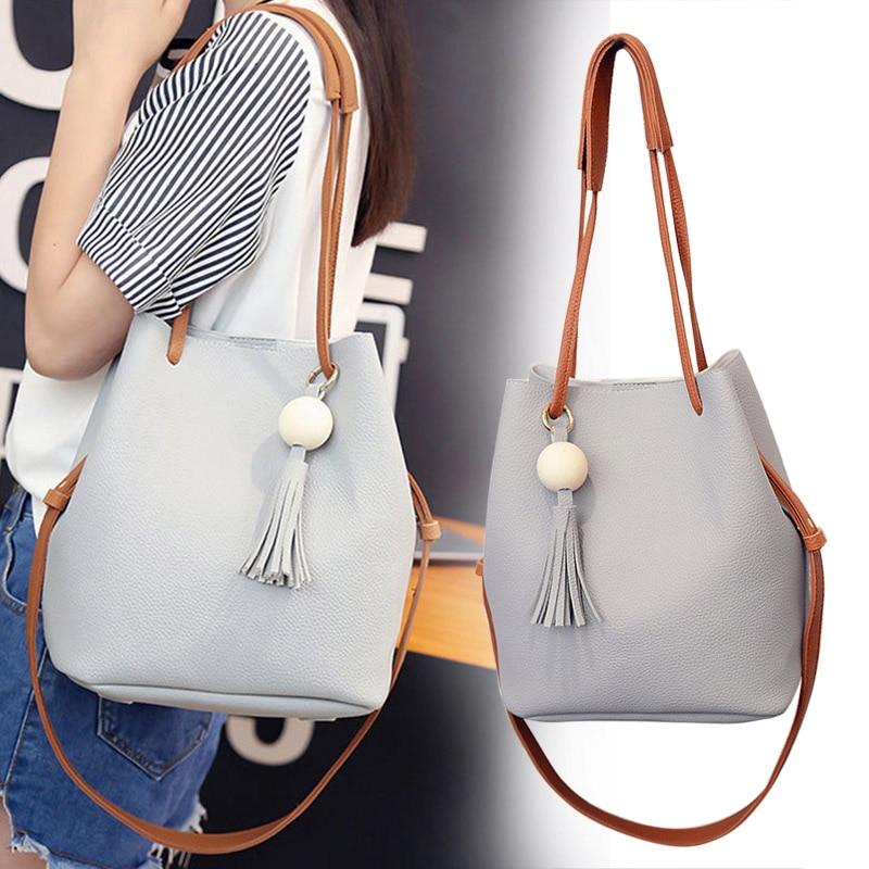2019 New Fashion Women Women PU Leather Bucket Shoulder Bag With Small Handbag Messenger Satchel Bag KA-BEST