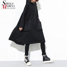 新 2019 和風女性の冬の黒フード付きドレスポケットジッパー長袖女性プラスサイズの休日カジュアルミディドレス j220