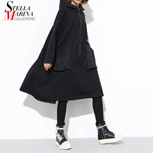 New 2019 Japanese Style Women Winter Black Hooded Dress Pocket Zipper Long Sleeve Lady Plus Size Holiday Casual Midi Dress J220