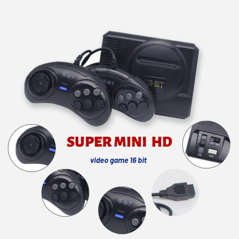 Coolbaby nouveau MINI 16 bits Console de jeu vidéo classique construit en 208 jeu 2G mémoire Console de jeu à domicile avec manette de jeu pour jeu MD
