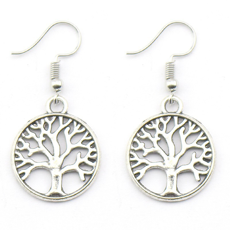 Silver Plated Drop Earrings Women Hollow Out Tree Of Life Pattern Round Earring Moda Mujer Jewelry Fashion Pendientes