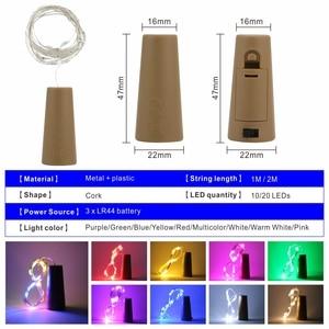 Image 2 - LED زجاجة نبيذ أضواء 2 متر 20 المصابيح الفلين شكل الأسلاك النحاسية الملونة سلسلة صغيرة أضواء للمنزل في الهواء الطلق الزفاف عيد الميلاد أضواء