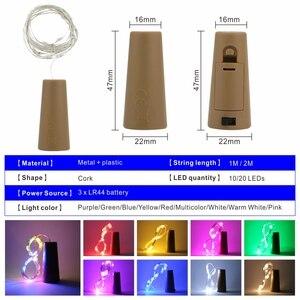 Image 2 - ขวดไวน์LEDไฟ2M 20LEDs Cork ShapeทองแดงลวดสีสันMini Stringสำหรับกลางแจ้งในร่มงานแต่งงานคริสต์มาสไฟ