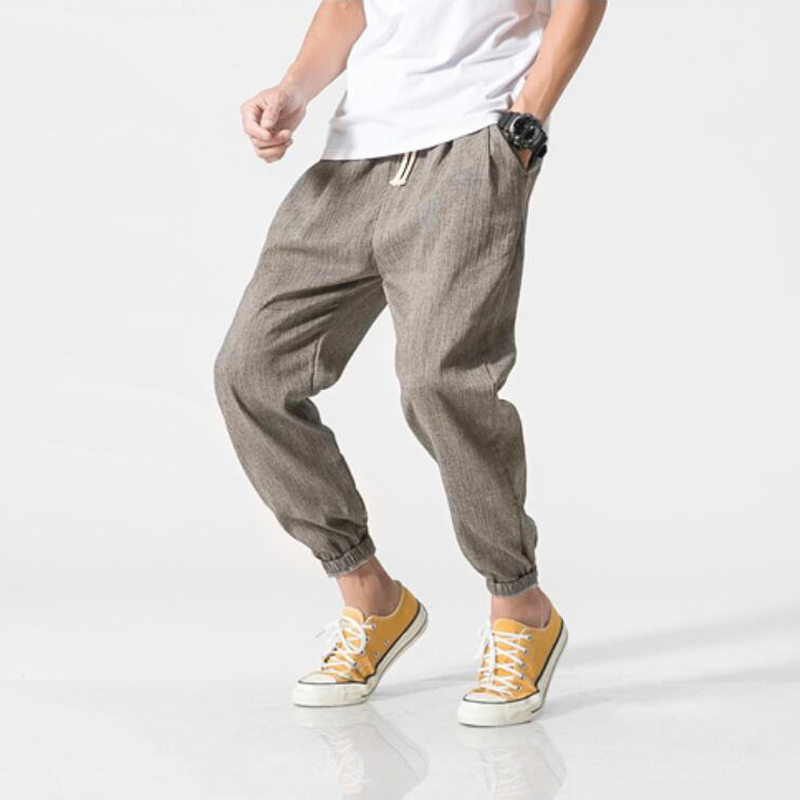 Brand Casual Harem Pants Men Jogger Pants Men Fitness Trousers Male Chinese Traditional Harajuku Summer Clothe Cotton Linen Hare