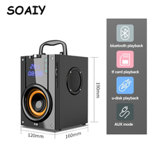 лучшая цена SOAIY Wireless Bluetooth Speaker Portable Speakers Stereo Subwoofer Big Power Heavy Bass Player Support LED Display FM Clock TF