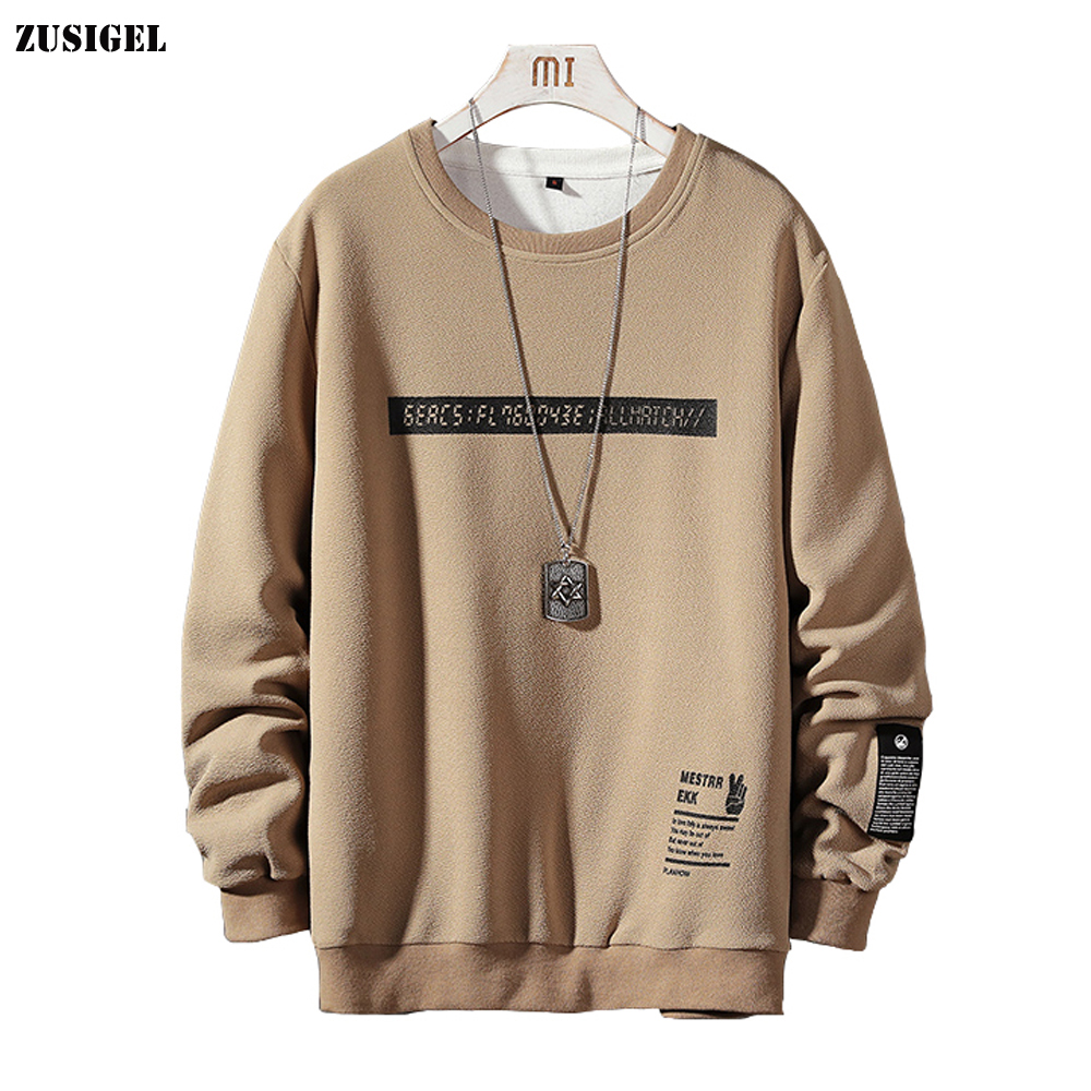 ZUSIGEL New Letter Print Harajuku Men Hoodies O-Neck Long Sleeve Casual Sweatshirt Hoodie Men Print Hoodi Japanese Streetwear