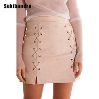 Sukibandra Fashion Summer Sexy Short Pencil Faux Leather Skirts Women Lace Up Club Black Vintage Suede Bodycon Wrap Mini Skirt