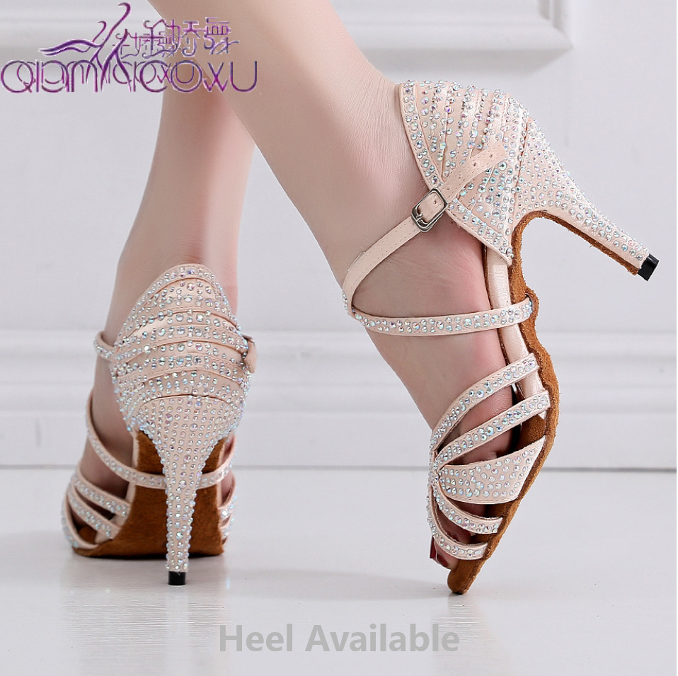 Low Price Salsa Jazz Ballroom Latin Dance Shoes For Dancing Women Social Chinese Latina Footwear Summer Rhinestone Sandals 7167