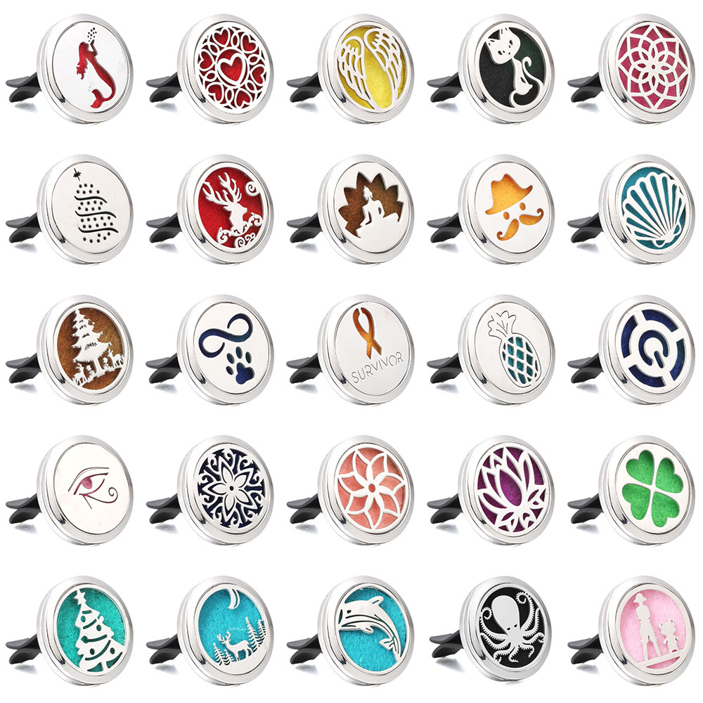 Aromatherapy Jewelry Cute Cat Car Air Diffuser Stainless Steel Vent Freshener Car Essential Oil Diffuser Perfume Necklace Locket