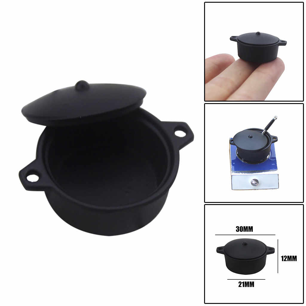 Miniature Black Pot for Dollhouse Wooden Furniture Model Set Kids Toy Accessories Decoration toys juguetes brinquedo игрушки
