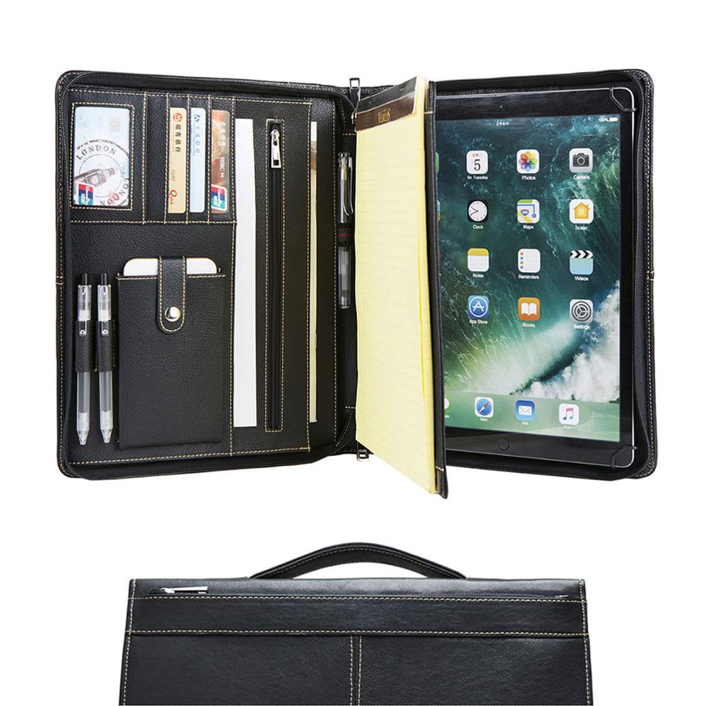 Portefeuille A4 en cuir véritable fait à la main, dossier de conférence avec poignée rétractable, noir