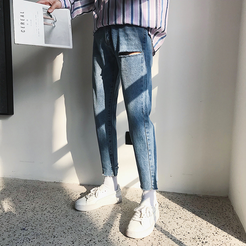 2020 Men's Holes Casual Pants Leisure Stretch Classic Skinny Jeans Slim Fit Blue Color Trousers Biker Denim Pants S-2XL