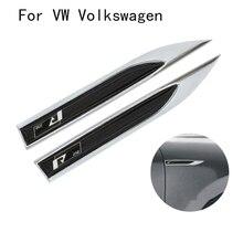 Автомобильные Боковые крылья нож пара для R Line Rline для VW наклейки эмблема автомобиля отделка Стайлинг значок наклейки