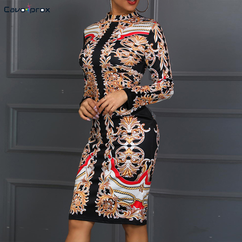 Women Retro Print Insert Long Sleeve Bodycon Dress Casual Sheath Knee-Length Summer O-Neck Plus Size Club Party Dress