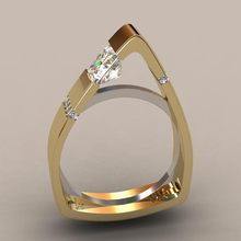 Special Design Triangle Women Rings Unique Jewelry Gold 925 Silver double color Punk rings