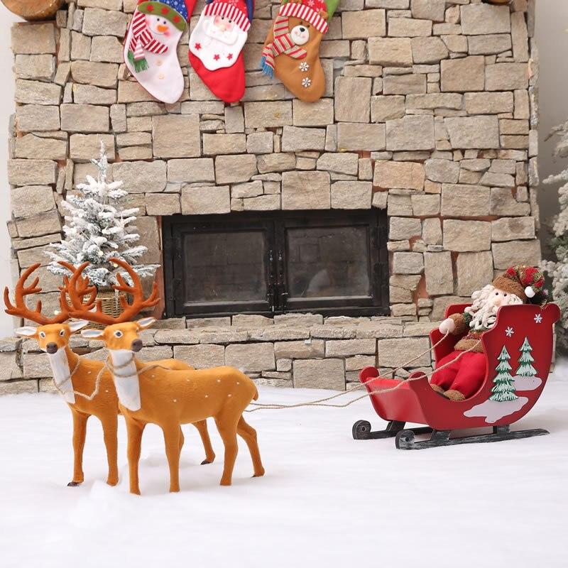 Рождественские украшения Деревянный Маленький Skibob Санта Клаус торговый центр, отель витрина супермаркета место бутафория для украшения