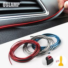 Oslamp 5M Auto Styling Interieur Decoratie Strip Chroom Zilver Blauw Rood Moulding Trim Air Dashboard Deur Rand Auto Accessoires(China)