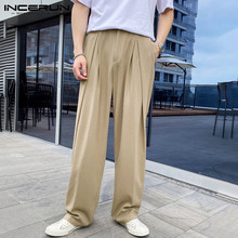 Straight-Pants Joggers-Button Casual-Trousers Streetwear Loose INCERUN Korean-Style Men
