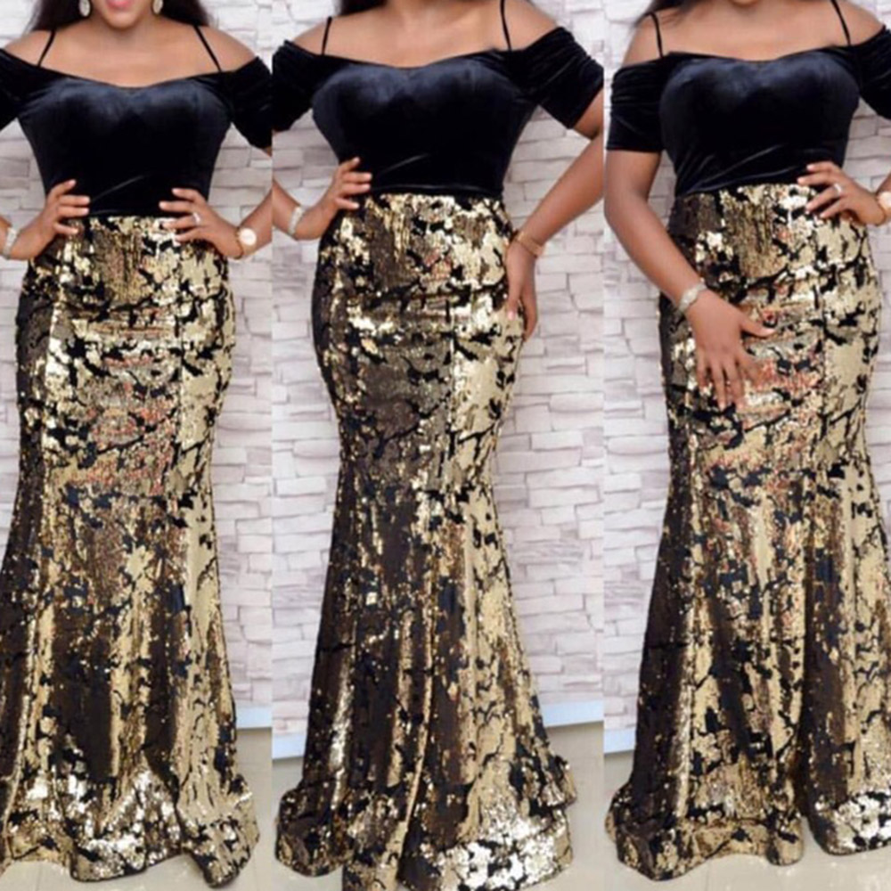Vintage Patchwork Floor-Length Velvet Long Dress Elegant Women Plus Size XXL Ladies Bodycon Evening Mermaid Sequins Dresses Fall