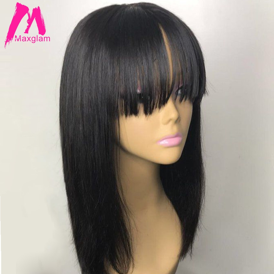Human Hair Wigs With Bangs Short Straight Long Wig For Black Women Natural Brazilian Remy Hair 30 Inch Pre Plucked Full Hd