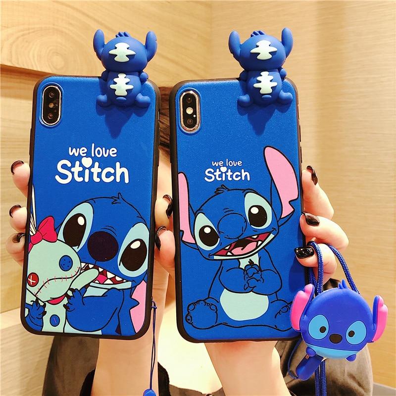 3D Cute Cartoon Stitch Phone Cases For Samsung Galaxy S6 S7 Edge S8 S9 S10 Note 10 Pro J3 J5 J7 Soft TPU Couples Cover Coque