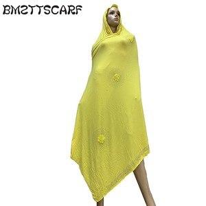 Image 2 - 100% Sciarpa di Cotone Morbido KASHKHA Sciarpa per gli Afro Donne Musulmane Dubai Pregate Grandi Scialli con strass BM828