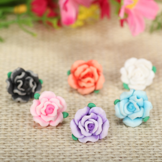 50pc/lot 13mm Cute Resin Small Polymer Clay Rose Flowers Beads Diy Bracelets Necklace Earrings Jewlery Making Spacer Accessories