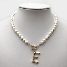 Prawdziwy naszyjnik z pereł Choker alfabet A-Z początkowe naszyjnik z pereł ze stali nierdzewnej stalowa klamra GoldColor withstainless wisiorek biżuteria z pereł słodkowodnych