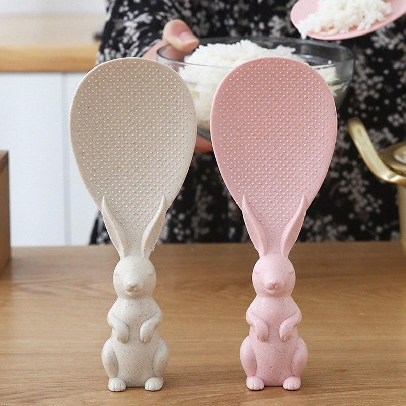 Высокие бытовые кухонные инструменты, стоячая ложка в форме милого кролика, антипригарная рисовая ложка, модная рисовая ложка DOG88