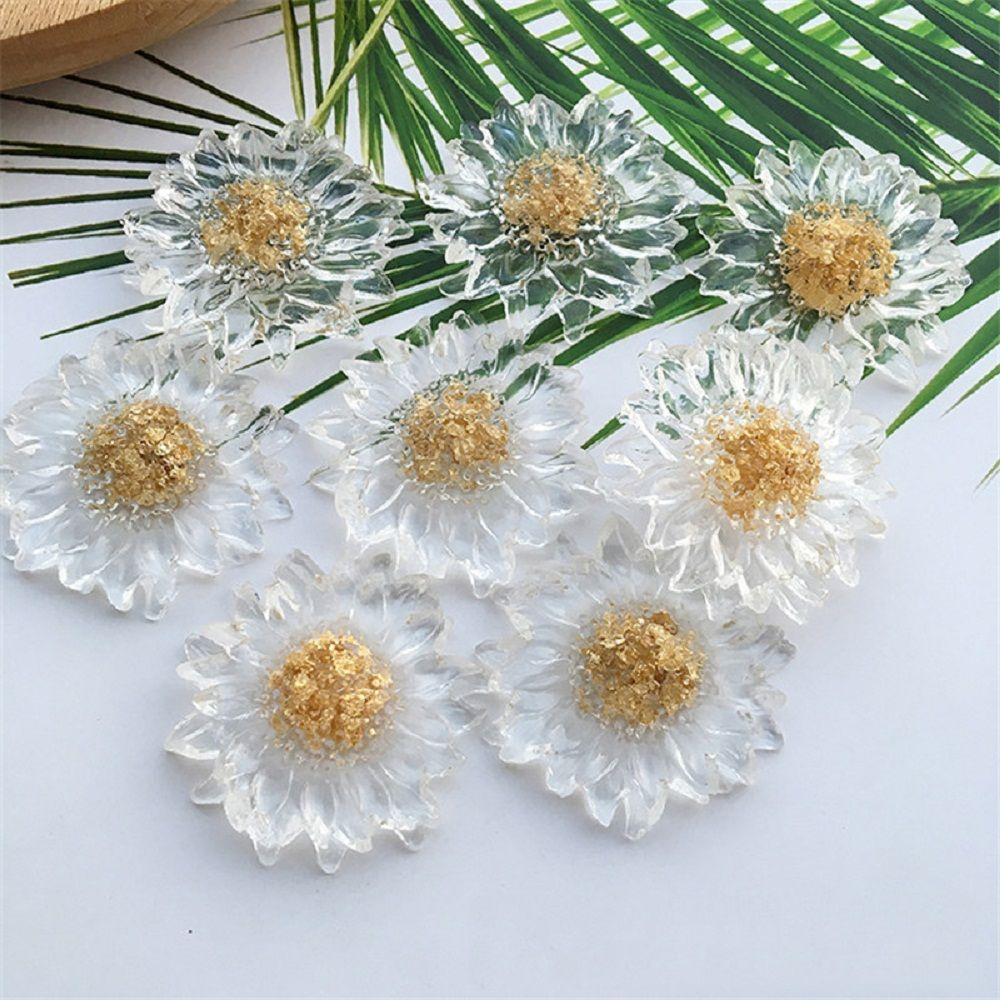 1 Pcs Transparent Gold Foil Daisy Resin Accessories DIY Handmade Flowers Sun Flower Earrings Ring Jewelry Accessorie New Arrival
