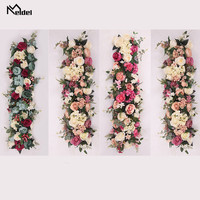 Meldel Artificial Flower Row Decor Wedding Wall Backdrop Arrangement Supplies Rose Row Flower Romantic Custom DIY Arch Decor