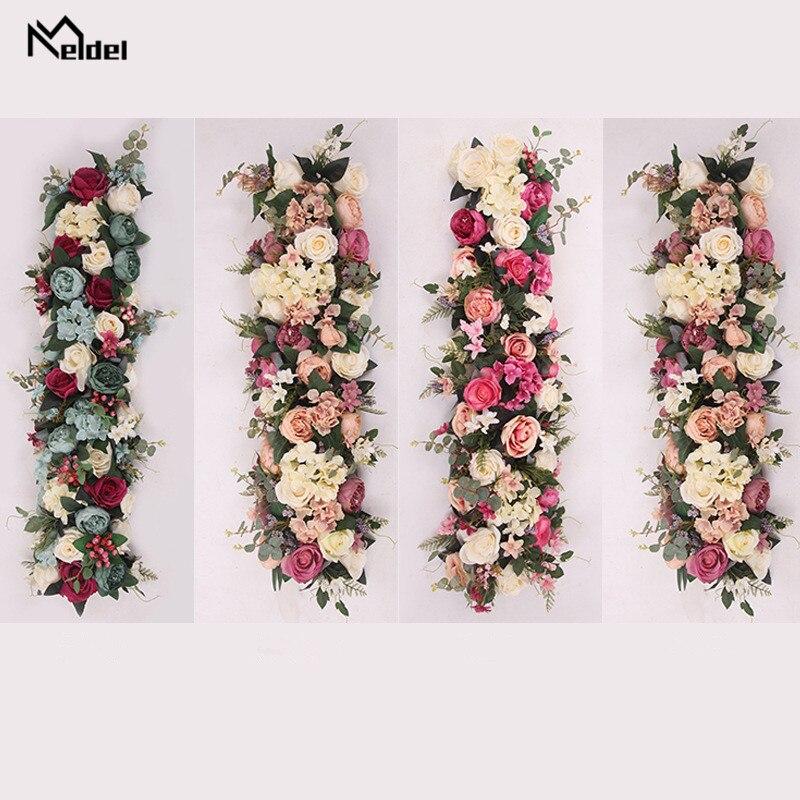 Meldel Künstliche Blume Reihe Decor Hochzeit Wand Hintergrund Anordnung Liefert Rose Reihe Blume Romantische Custom DIY Arch Decor