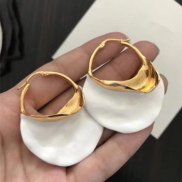 Irregular Metal Basket Large Hoop Earrings  1