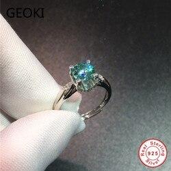 Geoki a passé le Test de diamant 1 CT VVS1 bleu vert Moissanite 4 broches bague 925 en argent Sterling bagues de fiançailles femmes bijoux de luxe