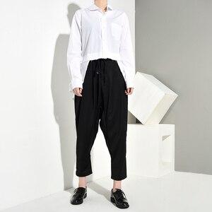 Image 4 - [EAM] Women White Back Long Pleated Asymmetrical Blouse New Lapel Long Sleeve Loose Fit Shirt Fashion Spring Autumn 2020 JR3900