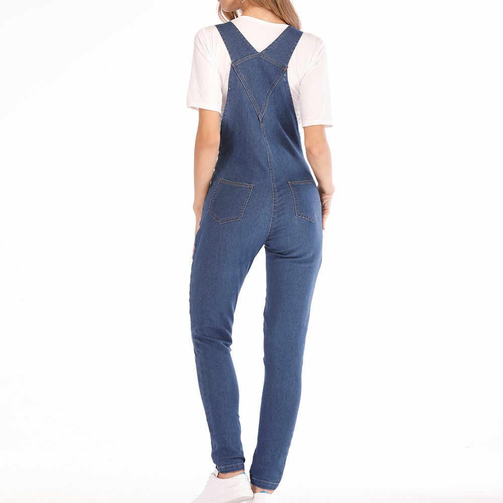 Womail 2019 женские модные джинсовые комбинезоны однотонные синие комбинезоны комбинезон сексуальные длинные Комбинезоны женские повседневные брюки комбинезоны