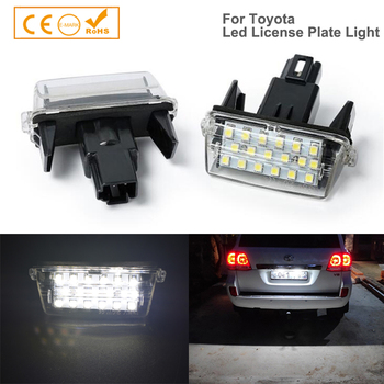 2x Rear Number License Plate Light For Toyota Auris Camry Corolla Esquire Highlander Prius Yaris Corolla Car Led White Auto Lamp auto steering wheel audio control button switch for toyota hilux vigo corolla camry highlander innova