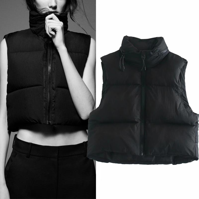 Za 2020 Winter Black Cropped Vest Coat Women Fashion Keep Warm Sleeveless High Collar Zip Up Wasitcoats Woman Casual Vest Top