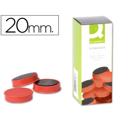 MAGNETS FOR CLIP STRIP Q-CONNECT IDEAL FOR Slates MAGNETICAS20 MM RED-10 'S BOX MAGNETS