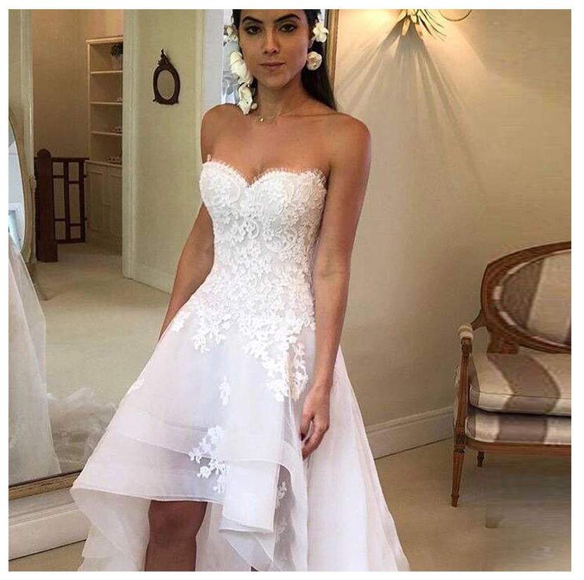 White Lace Appliques Wedding Dresses 2020 Long Sleeveless Lace Up Vintage Bride Gown Senior Wedding Party Gowns High Low