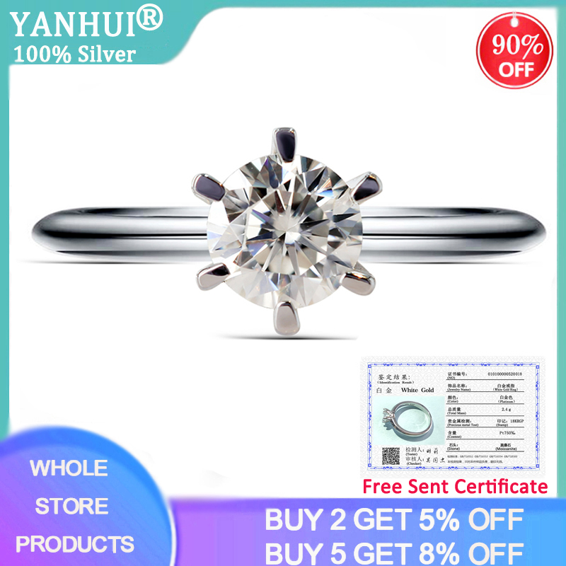 YANHUI With Certificate Luxury 18K White Gold Moissanite Ring 1ct 6mm Solitaire Diamond Fine Jewelry For Women Girlfriend Gift