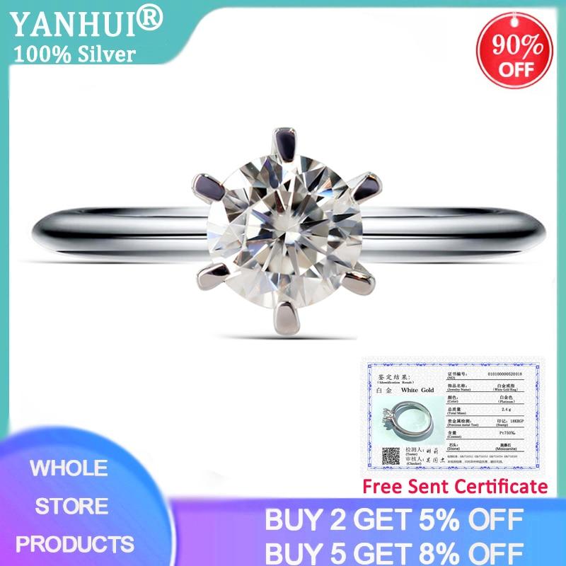 YANHUI With Certificate Luxury 18K White Gold Moissanite Ring 1ct 6mm Solitaire Diamond Fine Jewelry For Women Girlfriend Gift