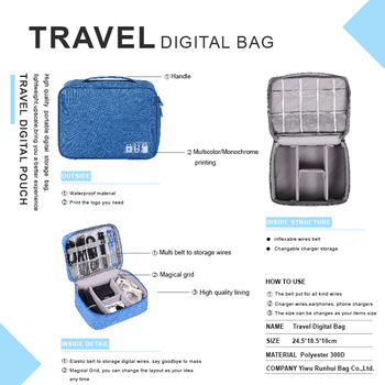 Portable Digital Storage Bags Organizer for USB Gadgets Cables Wires Charger 4