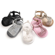 Baby Girl Sandals For Newborn Summer Bebek Sandalet  Leather Tassel With Bow Infant Toddler Sandals Rubber Soles Kids Shoes