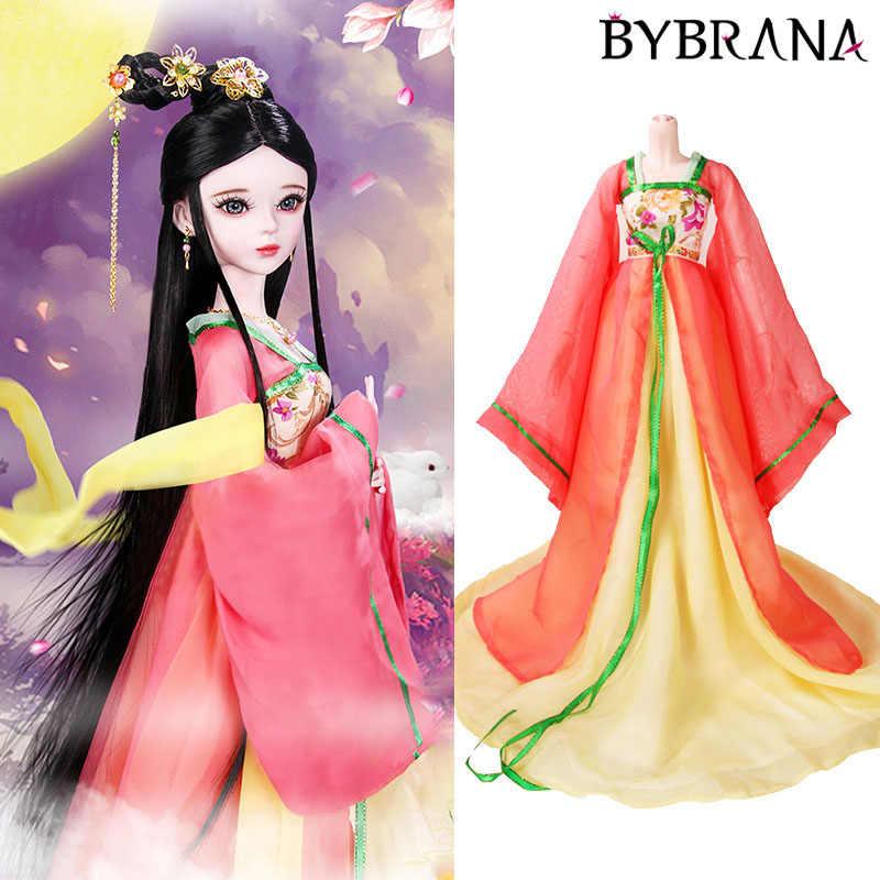 Bybrana vermelho azul branco multi-cor 60 cm boneca roupas personalizado bjd traje princesa vestido de casamento roupas tradicionais chinesas