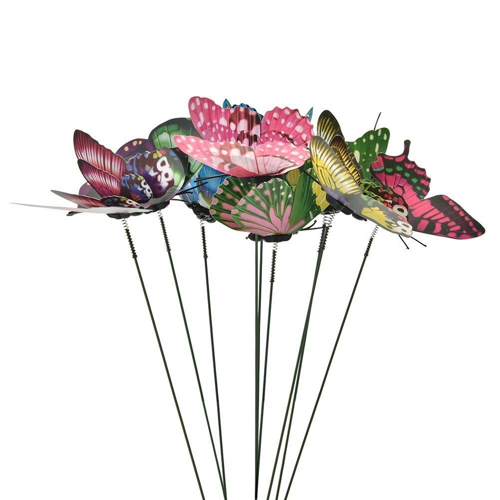 10 шт./компл. 3D режим двойные крылья Искусственные бабочки на палочках садовые растения двор «сделай сам вечерние вечеринка Свадьба домашний...