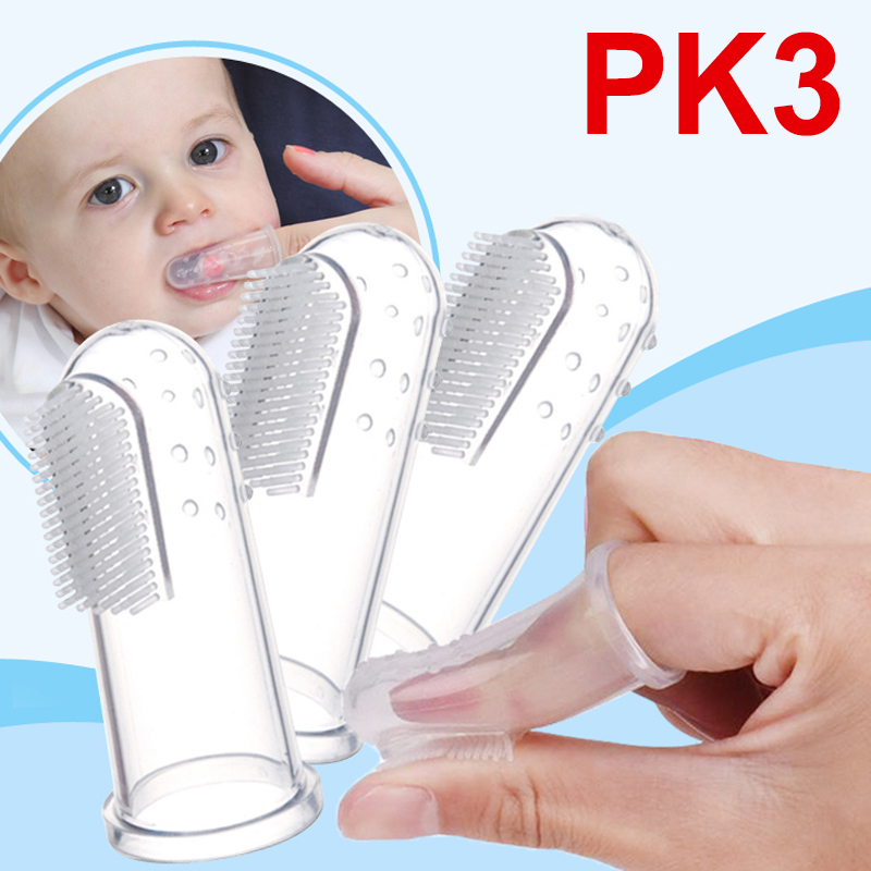 3PCS Baby Kids Infant Soft Silicone Finger Tooth Brush Teeth Gum Massager Tool