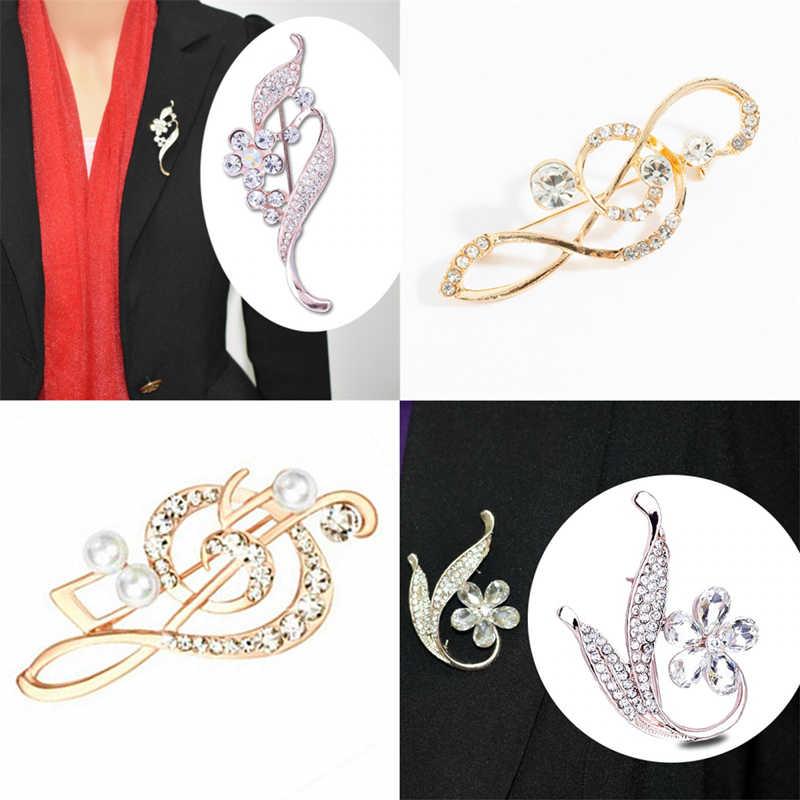 Kristal Bauhinia Bros Fashion Catatan Musik Bros Pakaian Pins Mengkilap Temperamen Mutiara Bros Pria Wanita Perhiasan Grosir